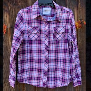 Arizona plaid flannel snap buttons shirt